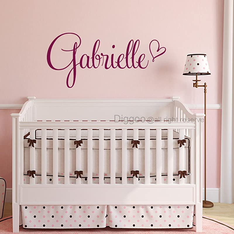 Girls Room Wall Decal Name Wall Decal Heart Wall Decor Baby Girl Nursery Decor 22 Wide PLUS FREE WELCOME DOOR DECAL