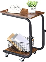 BEWISHOME Side Table Sofa Couch End Table Height Adjustable Laptop, Coffee, Snack Table with Wheels for Living Room, Bedro...