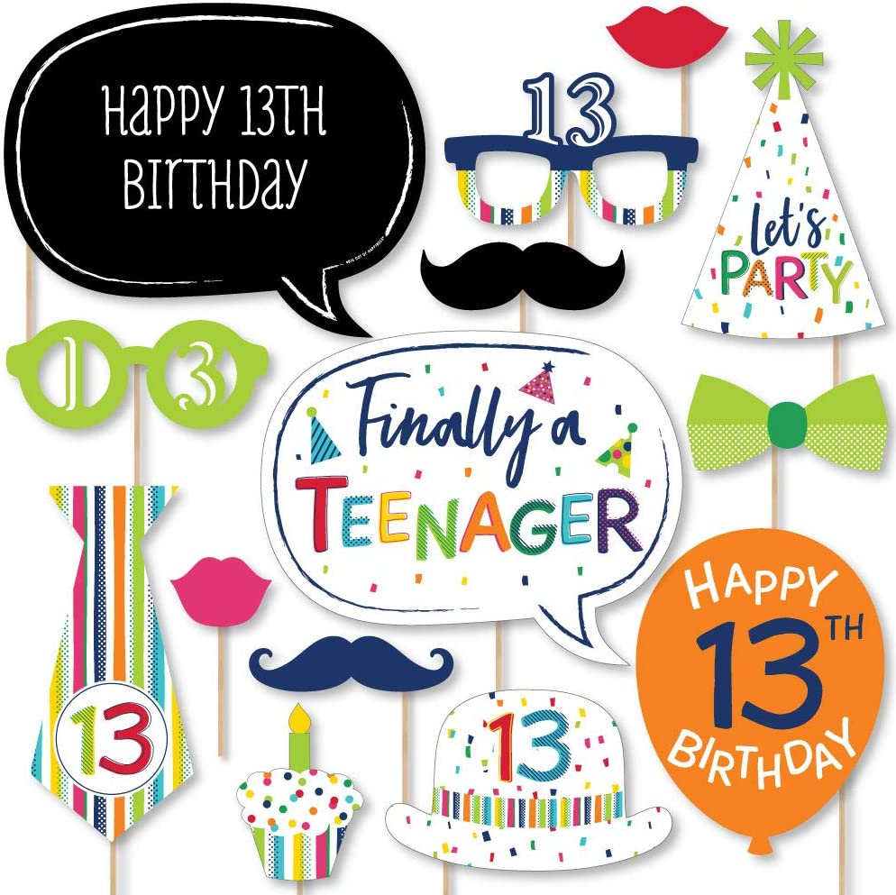 Amazon Com Big Dot Of Happiness 13th Birthday Cheerful Happy Birthday Colorful Thirteenth Birthday Party Photo Booth Props Kit 20 Count Home Kitchen