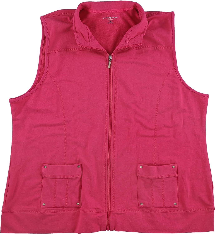 Karen Scott Womens Plus Size Zip-Front Vest, Rose, 2X