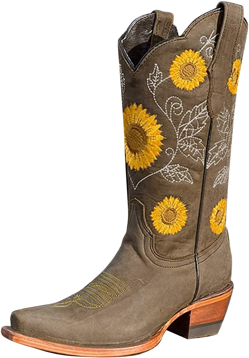 Womens Boots Western Boots Fashion Sunflowers Embroidered Round Toe Mid Calf Chunky Heel Cowboy Boots Comfortable Square Heel Slip-on Casual Shoes