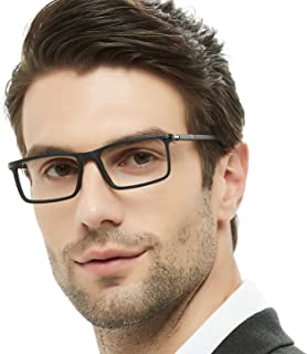 OCCI CHIARI Mens Rectangular/Square Fashion Acetate Eyewear Frame with Clear Lens