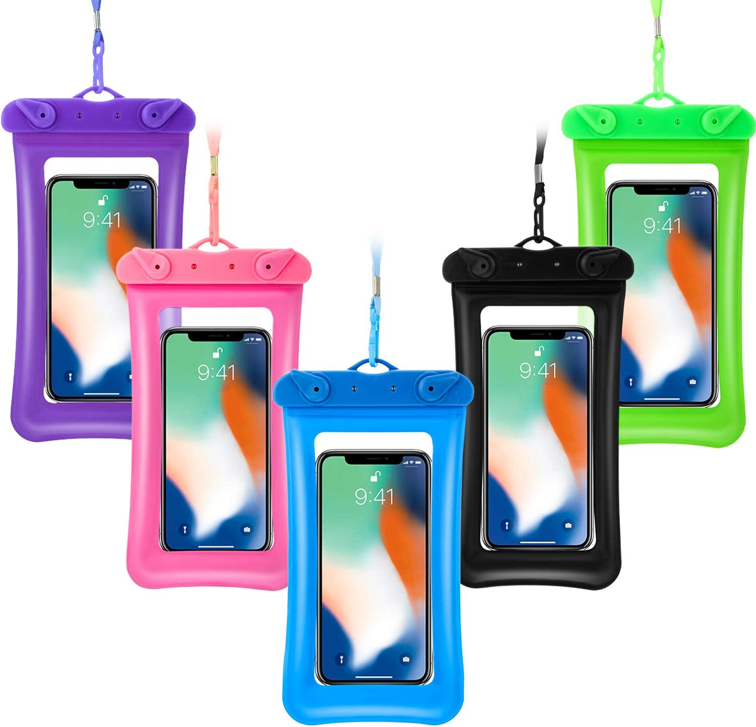 5 Pieces Floating Waterproof Phone Pouch Floatable Waterproof Case Universal Cellphone Dry Bag with Lanyard Beach Underwater Pouch for Smartphone up to 6.5 Inch (Green, Rose Red, Blue, Purple, Black)
