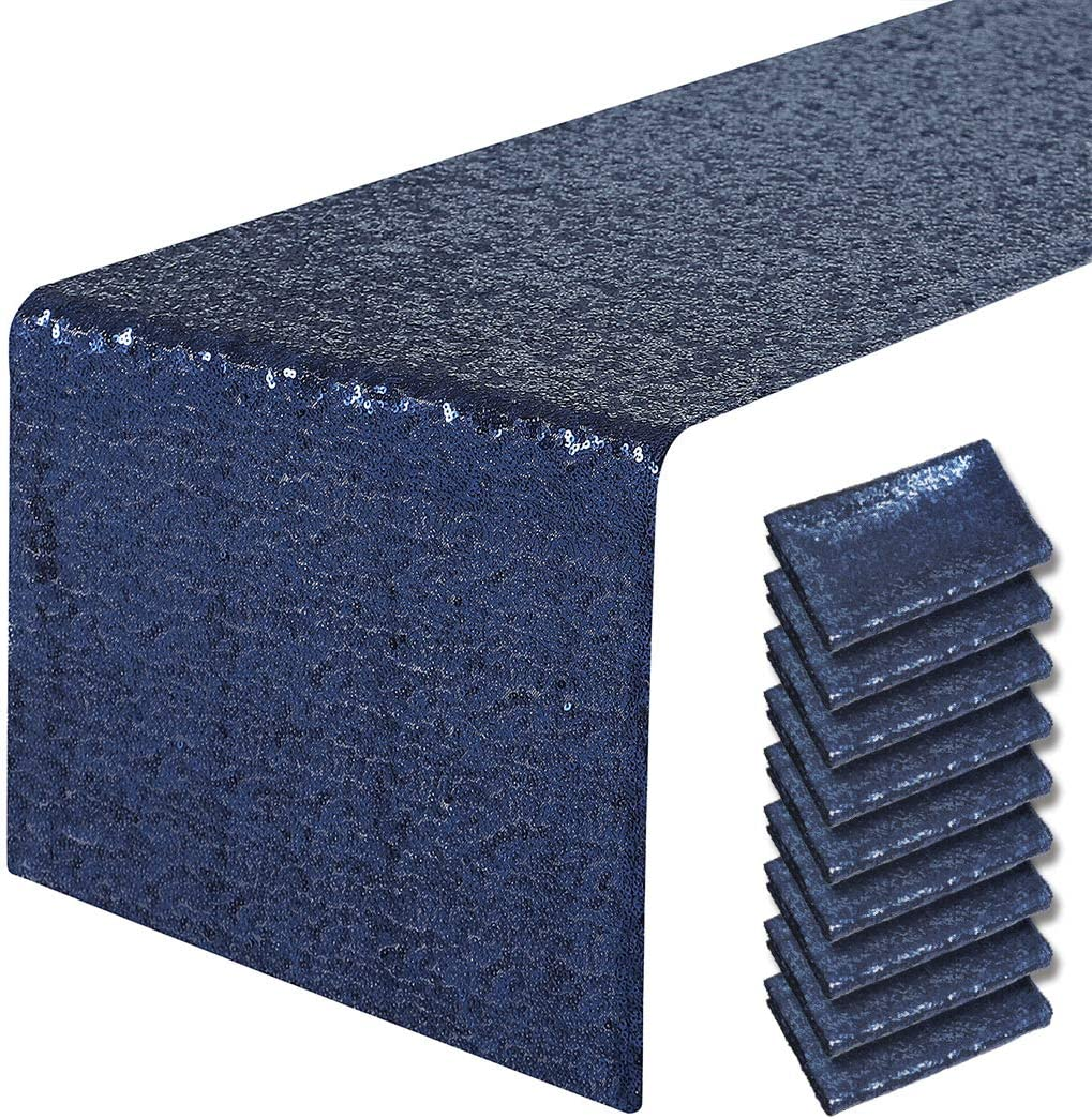 Pufogu 10 Packs NEW ARRIVAL 12 x 72 inches Runner Table Blue Gl スーパーセール Navy Sequin