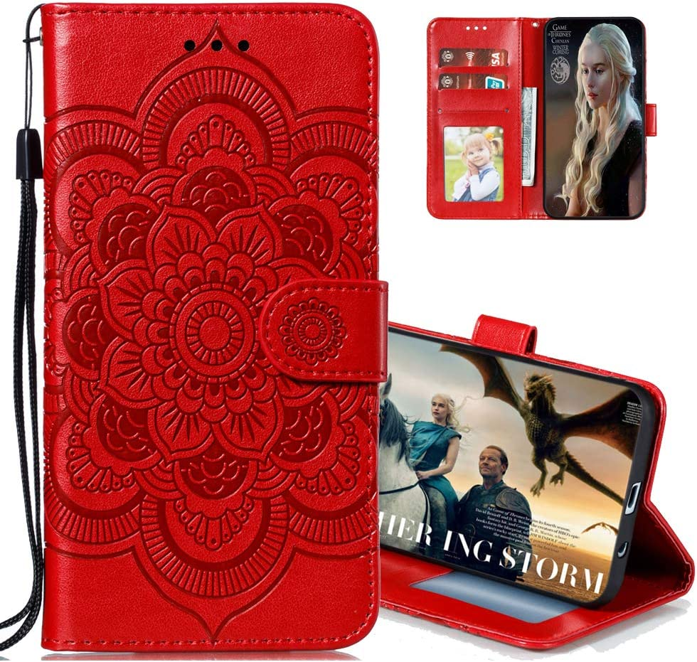 MRSTERUS Wallet case for Moto G Stylus 2020 Case Mandala Embossed Premium PU Leather Flip Shockproof Protective Wallet Case Magnetic Stand Card Slot Folio Bumper for Moto G Stylus Mandala-Red LD