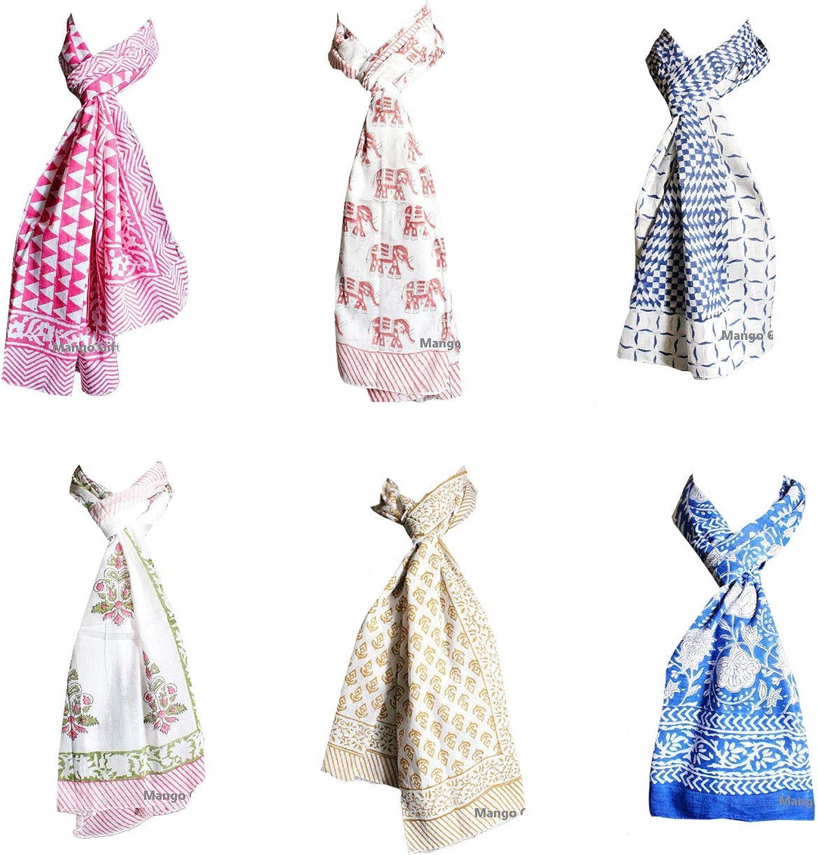 100% Cotton Hand Block Print Scarf Scarves Wraps Wholesale Lot of 20 Pieces