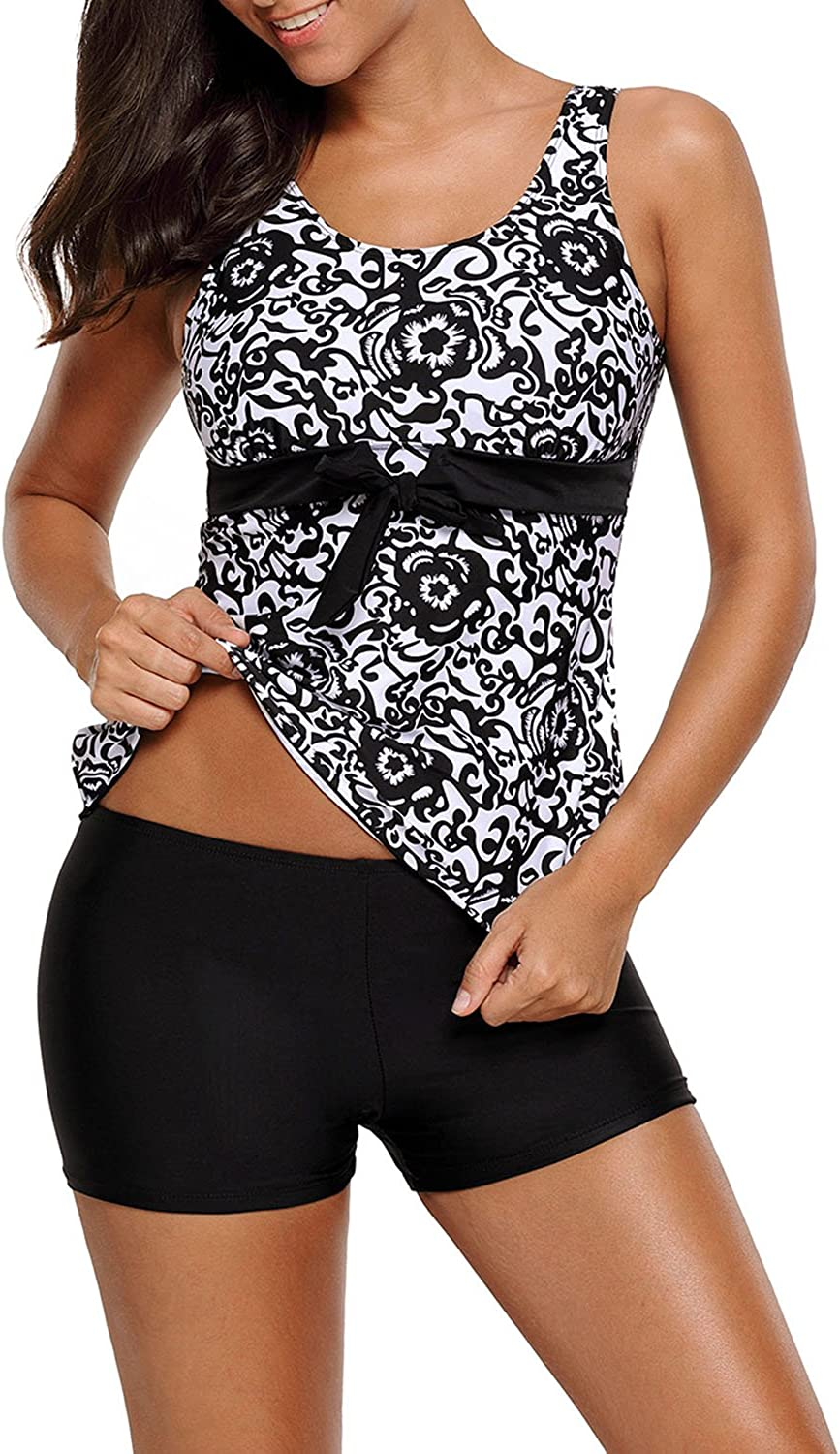 HOTAPEI Women's Floral Printed Tops Two Piece Swimsuit Tankini Set with Boyshort