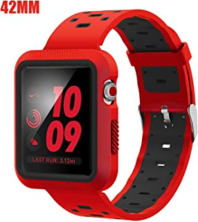 EloBeth Watch Band with Case Compatible with Apple Watch Band 42mm Series 3 2 1 with Case Bumper iWatch 42mm Band Sport Silicone (42mm Red/Black)