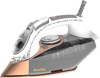Breville VIN401 DiamondXpress Steam Iron, 3100 W, 200G Steam Shot, Multi-Directional Diamond Ceramic Soleplate, 400 ml Water Tank, White & Rose Gold