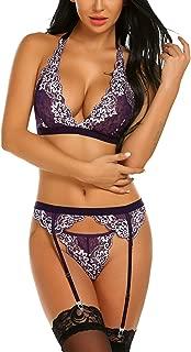 ADOME Women Lingerie Set with Garter Belt Lace Bra and Panty Set Mini Babydoll