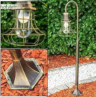 Borcan - Lámpara de pie para exteriores (aluminio fundido en negro y dorado, con cristales de cristal transparente, 125,5 cm, casquillo E27, máx. 60 W, IP44)