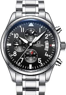 Swiss Brands Aviator Military Watch Mens Stainless Steel Case Sapphire Glass Waterproof Quartz Watch