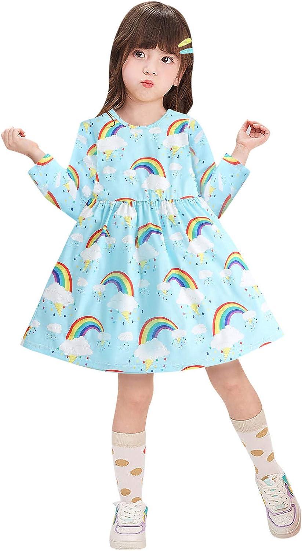 Baby Kids Girls Princess Dress Cartoon Printed Long Sleeve Party Dress Clothes