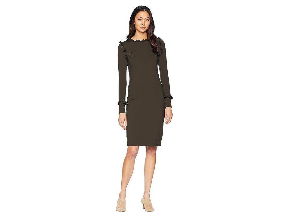 Susana Monaco Ruffle Detail Long Sleeve Dress (Hunter Green) Women