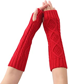 XueXian Women's Cable Knitted Fingerless Cold Weather Winter Long Arm Warmer Golves