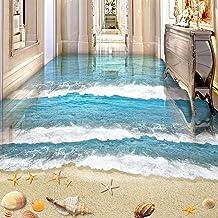 PVC zelfklevende waterdichte 3D-vloertegelstickers Modern Beach Sea Wave kinderkamer woonkamer Wear Floor Murals 250cm(L)x...