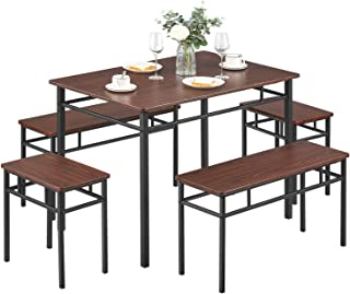 Kealive Dining Table Set with Bench 5 Pieces Modern Wood Table Top 2 Benches and 2 Stools, Dining Room Furniture Set 43.3'' L x 27.6'' W x 29.5'' H Metal Frame, Brown