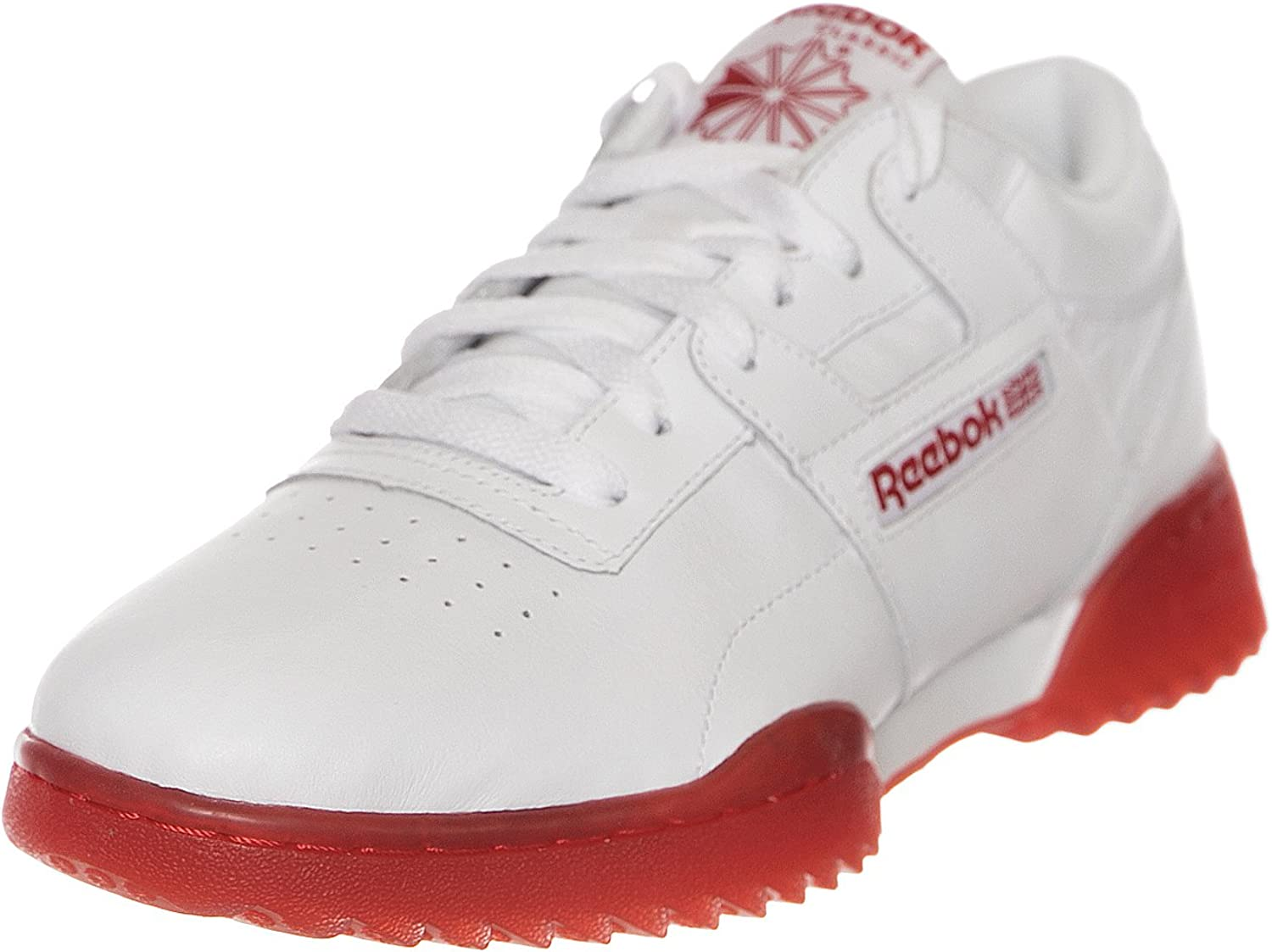Reebok Mens Classic Workout Clean Ripple Ice Trainers in White Red