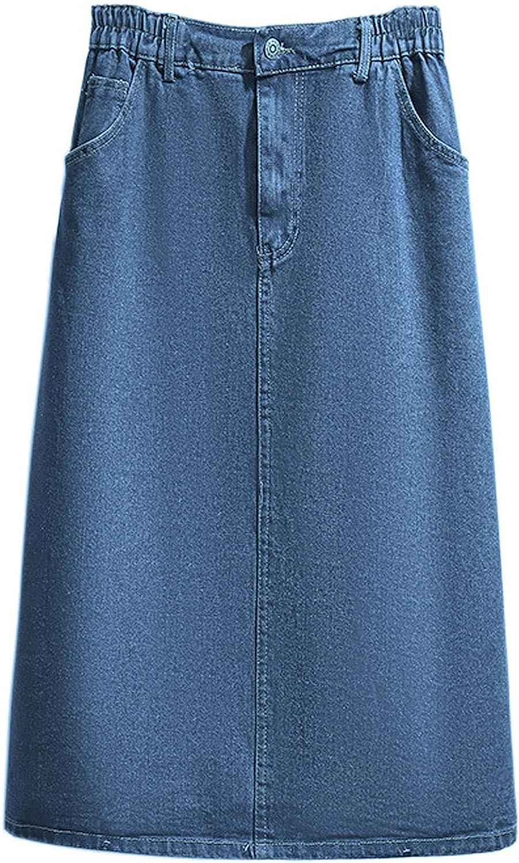 CHARTOU Women's Summer Casual Elastic Waist Pockets Work Midi Denim A Line Skirt