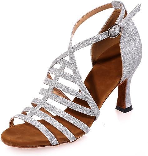 L@YC Chaussures De Danse FéMinine Latine Satin avec Or Marron Blanc Noir Rouge Bleu Personnalisable