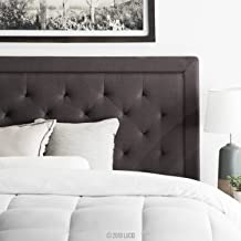LUCID Bordered Upholstered Headboard with Diamond Tufting, Twin/Twin XL, Charcoal
