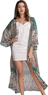 Women's Loose Kimono Cardigan Floral Print Long Sleeve Cover Up Beach Coverups Bathing Suit for Women
