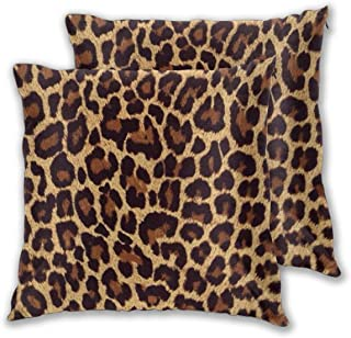 Furniture Decorate Accent Home Square Cool Cheetah Leopard Printed Cotton Cushion Cover,Throw Pillow Case, Slipover Pillowslip for Home Sofa Couch Chair Back Seat, 2 Pack 20x20 in