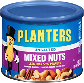 Planters Mixed Nuts, Mixed Nuts, Unsalted, 10.3 Ounce (Pack of 4)