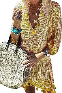 Women Printing V-Neck Long-Sleeves Fringed Mini Dress