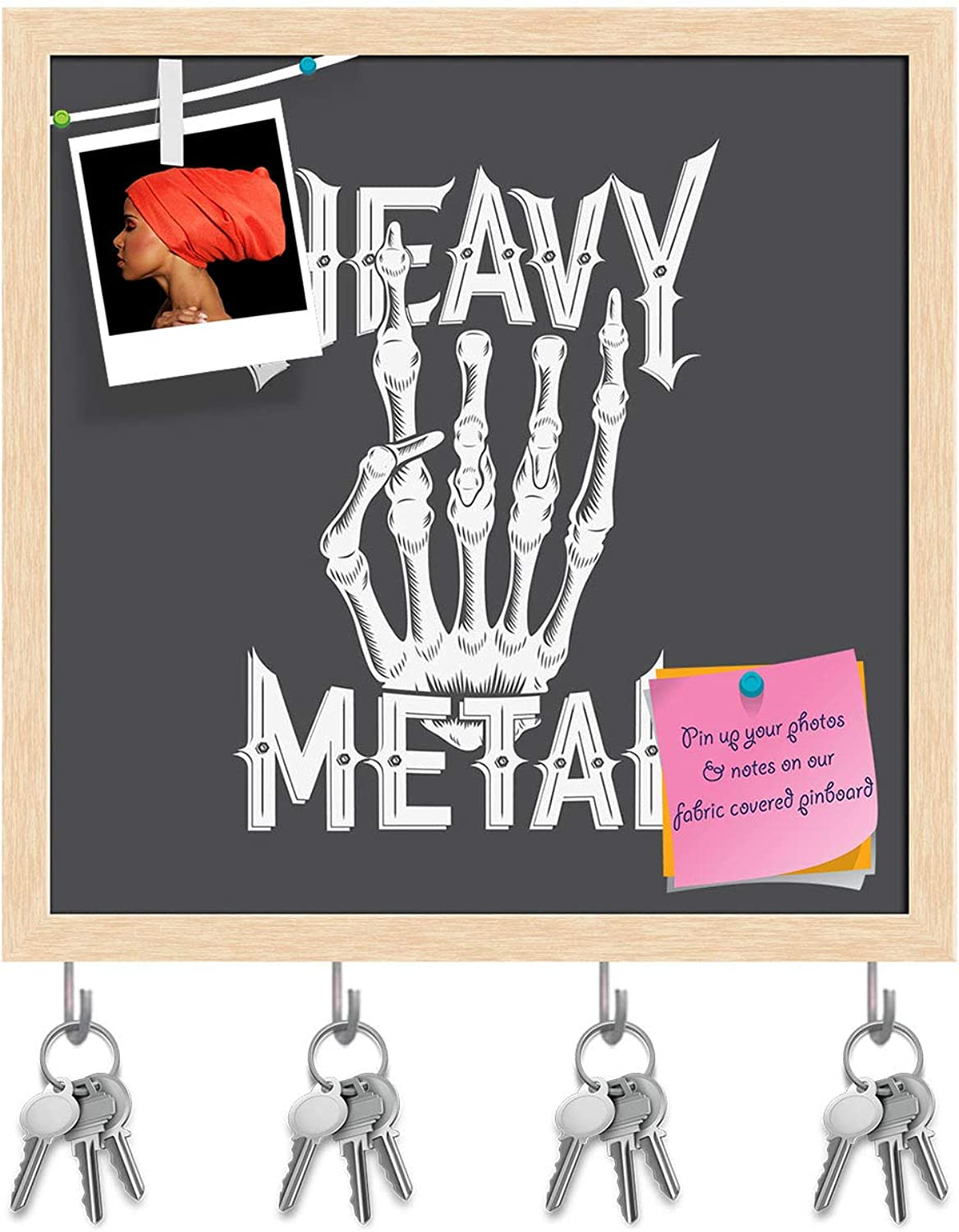 Artzfolio Heavy Metal Typography D2 Key Holder Hooks   Notice Pin Board   Natural Brown Frame 20 X 20Inch