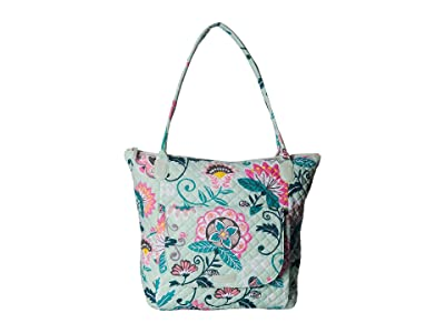 Vera Bradley Carson North/South Tote (Mint Flowers) Tote Handbags