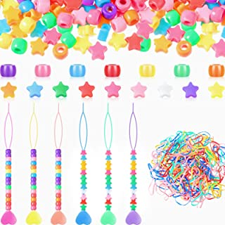 1206 Pieces Hair Braids Beads Pony and Star Beads Set Including 6 Pieces Quick Beader for Kid Hair Braids 600 Multicolor P...
