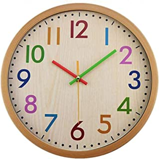12 Inch Round Wooden Wall Clock, Silent Non-Ticking Battery Operated Colorful Decorative Clock, Easy to Read, for Kitchen,...