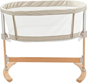 Purflo Keep Close Breathable Hypoallergenic Bedside Co-Sleeping Crib with Drop Rail  amp  Height Positions Includes Mattress Travel Bag  amp  Fitted Sheet Soft Truffle