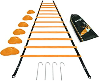 Yes4All Agility Ladder with Carry Bag Footwork Ladder - Multi Choices: 8, 12, 20 Rung and Combo with Agility Cones (G. Orange 12 Rung)