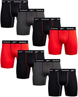 Reebok Men's Performance Boxer Briefs with Comfortable Contour Pouch (8 Pack), Black/Red/Charcoal, Size Medium