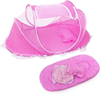 SKEIDO Baby Mosquito Net Portable Folding Baby Travel Bed Crib with Mattress Pillow Bag Pink
