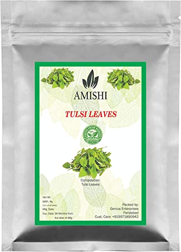 Amishi Natural Tulsi Leaf Leaves Ocimum Sanctum Holy Basil Powder For Health Skin Hair 100 Gram