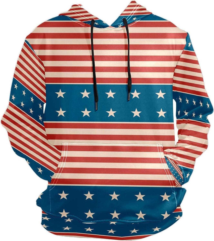 Patriotic Star American Color Mens Sport Hoodie Big and Tall Hoodies for Men Women Oversized Hooded Sweatshirt Hip Hop Pullover Hoodie Midweight Hood for Boys Girls