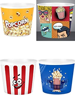 Modern Style Reusable Plastic Popcorn Box / Popcorn Containers / Popcorn Bowls Set for Movie Theater Night - (BPA Free - M...
