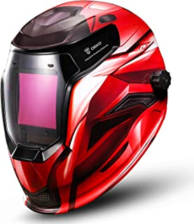 Welding Helmet Auto Darkening Solar Powered Professional Welding Mask (Red)