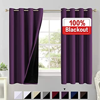 100% Blackout Curtains for Living Room Double Layer Faux Silk Curtains Room Darkening Thermal Insulated Energy Saving Grommet Window Treatment Panels (Indigo Plum, 52 by 63-inch)