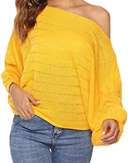 MogogNWomen Pure Colour Knitted Fall Winter Blouse Long-Sleeve Sexy T-Shirt