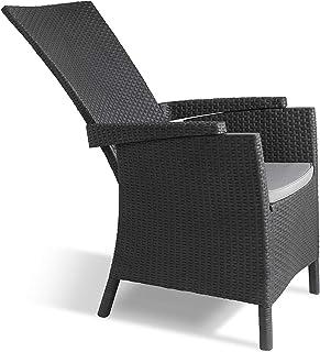 Allibert by Keter Vermont Silla reclinable de ratán, muebles de jardín para exteriores - Grafito con cojines grises