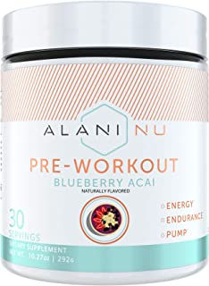 Alani Nu Pre-Workout Supplement Powder for Energy, Endurance, and Pump, Blueberry Acai, 30 Servings