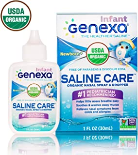 Genexa Saline Care for Infant – 1 FL OZ (3 Pack) | Certified Organic & Non-GMO Saline Spray/Drops for Infants | Free of Parabens & Chemicals