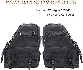 KMFCDAE Roll Bar Storage Bag Cargo Cage Saddlebag Organizers with Multi-Pockets Tool Kit Holder for Jeep Wrangler TJ LT JK JKU & Unlimited 4-Door 1997-2018 (1 Pair)
