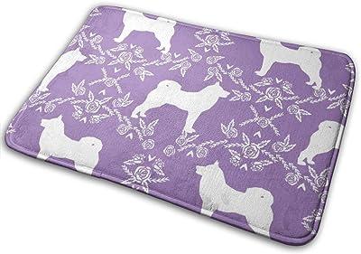 """Akita Silhouette Florals Dog Pattern Purple_23583 Doormat Entrance Mat Floor Mat Rug Indoor/Outdoor/Front Door/Bathroom Mats Rubber Non Slip 23.6"""" X 15.8"""""""