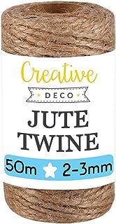 Creative Deco 164 Pieds | 50 m Ficelle Corde Jute | 2-3 mm d'épaisseur | Bobine Decorative Forte Épaisse Brune Naturelle |...