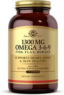 Solgar 1300 mg Omega 3-6-9, 120 Softgels - Fish Oil Supplement - Support for Heart, Joint & Skin Health - Includes Flaxsee...